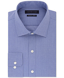 Tommy Hilfiger Men's Fitted Performance Stretch TH Flex Collar Navy Print Dress Shirt