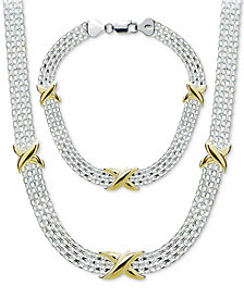 Giani Bernini Bismark Link Jewelry Set in Sterling Silver & 18k Gold-Plated Sterling Silver, Created for Macy's