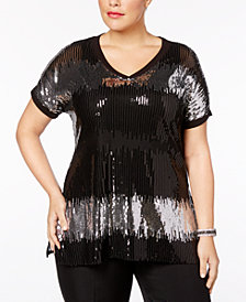 I.N.C. Plus Size Sequined Tunic, Created for Macy's