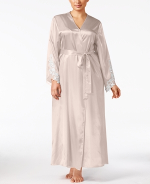 Vintage Nightgowns, Pajamas, Baby Dolls, Robes Flora by Flora Nikrooz Plus Size Satin Stella Robe $68.00 AT vintagedancer.com