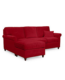 "Lidia 82"" Fabric 2-Pc. Chaise Sectional Sofa with Storage Ottoman - Custom Colors, Created for Macy's"