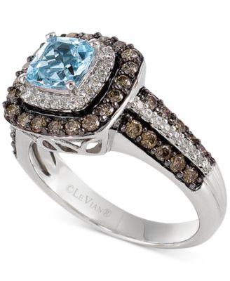 Aquamarine (3/4 ct. t.w.) and Chocolate Diamonds® (3/4 ct. t.w.) in 14k White Gold