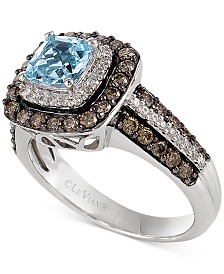 Le Vian Aquamarine (3/4 ct. t.w.) and Chocolate Diamonds® (3/4 ct. t.w.) in 14k White Gold
