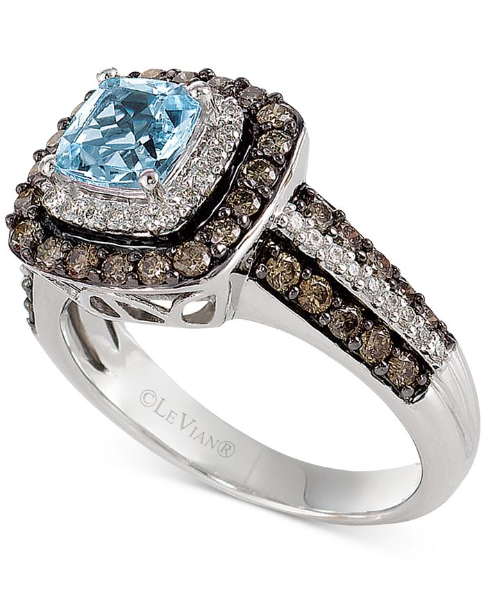 Le Vian - Aquamarine (3/4 ct. t.w.) and Chocolate Diamonds® (3/4 ct. t.w.) in 14k White Gold