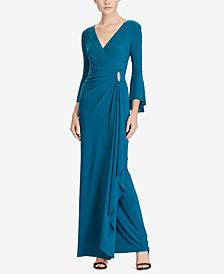 Lauren Ralph Lauren Bell-Sleeve Jersey Gown