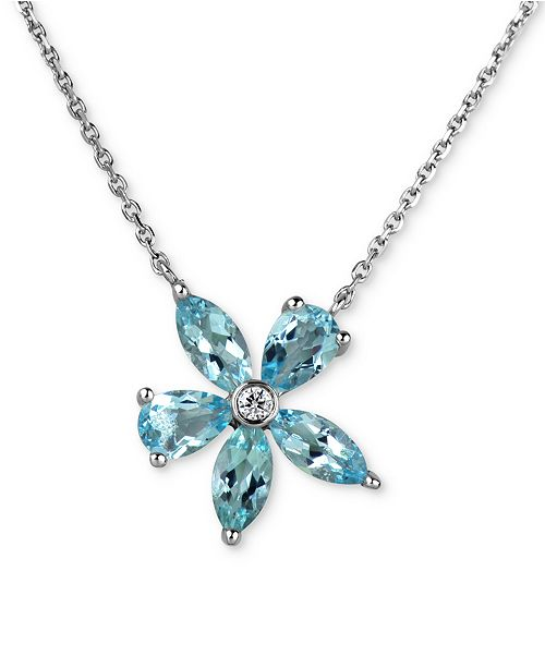 Macy's Aquamarine (2 ct. t.w.) & Diamond Accent Flower Pendant Necklace in 14k White Gold
