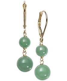 Dyed Jade  (6 & 8mm) Beaded Drop Earrings in 14k Gold