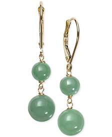 Dyed Jadeite (6 & 8mm) Beaded Drop Earrings in 14k Gold