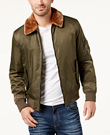 American Rag Men's Faux Fur Collar Flight Jacket, Created for Macy's