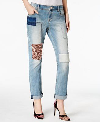 I.N.C. Patched Boyfriend Jeans, Created for Macy's