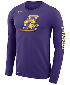 Nike Men's Los Angeles Lakers Dri-FIT Cotton Logo Long Sleeve T-Shirt