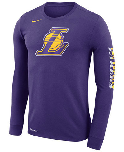 Nike men 39 s los angeles lakers dri fit cotton logo long for Under armour dri fit long sleeve shirts