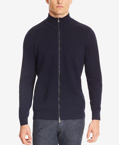 BOSS Men's Waffle-Knit Virgin Wool Full-Zip Jacket