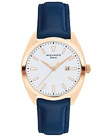 Movado Women's Swiss Heritage Series Datron Blue Leather Strap Watch 31mm