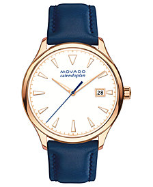 Movado Women's Swiss Heritage Series Calendoplan Blue Leather Strap Watch 36mm