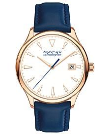 Movado Women's Swiss Heritage Series Calendoplan Blue Leather Strap Watch 36mm
