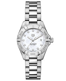 TAG Heuer Women's Swiss Aquaracer Diamond-Accent Stainless Steel Bracelet Watch 27mm