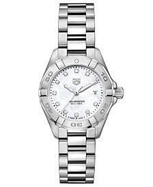TAG Heuer Women's Swiss Aquaracer Diamond-Accent Stainless Steel Bracelet Watch 27mm