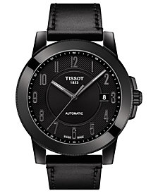 Tissot Men's Swiss Automatic Gentleman Swissmatic Black Leather Strap Watch 44mm