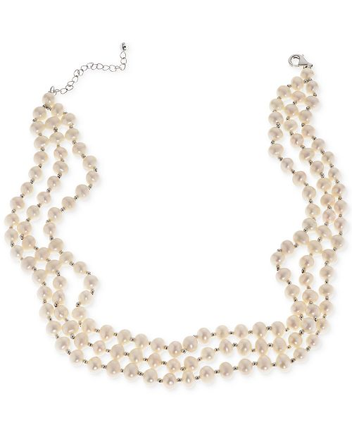 Macy's Cultured Freshwater Pearl (5mm) Three Strand Choker Necklace in Sterling Silver