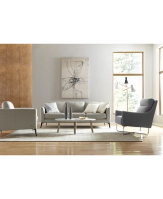 CLOSEOUT! Renleigh Leather Ottoman, Created for Macy's