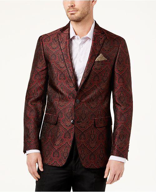 Tallia Mens Slim-Fit Burgundy Paisley Sport Coat -2659