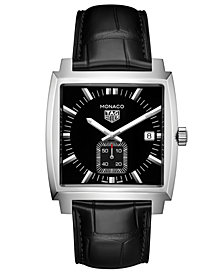 TAG Heuer Men's Swiss Monaco Black Alligator Leather Strap Watch 37x37mm