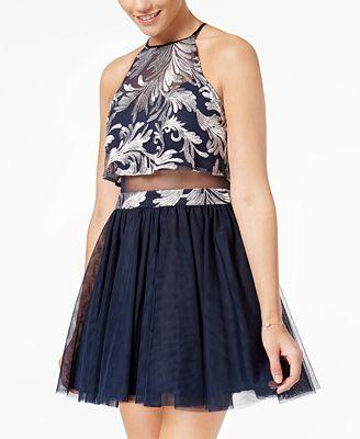 Teeze Me Juniors' Popover Fit & Flare Dress