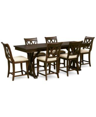 Baker Street Pub Expandable Dining Furniture, 7-Pc. Set (Trestle Table & 6 Pub Chairs)
