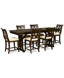 Baker Street Pub Expandable Dining Furniture, 7-Pc. Set (Trestle Table & 6 Pub Chairs)