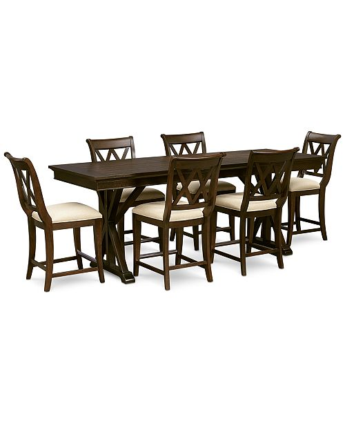 Furniture Baker Street Pub Expandable Dining Furniture, 7-Pc. Set (Trestle Table & 6 Pub Chairs)