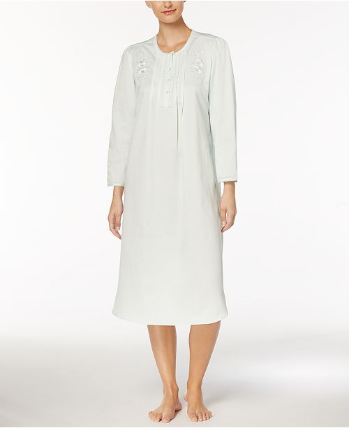 Miss Elaine Embroidered Picot-Trim Nightgown