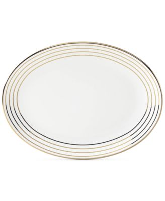 Charles Lane Gold-Tone Stripe Accents Oval Platter, Created for Macy's