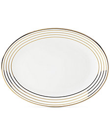 kate spade new york Charles Lane Gold-Tone Stripe Accents Oval Platter, Created for Macy's