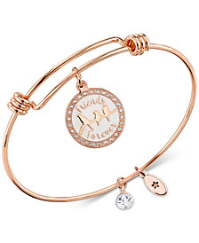 "Unwritten ""Friends Are Family"" Adjustable Bangle Bracelet in Rose Gold-Tone Stainless Steel"