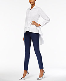 NY Collection Hi-Low Ruffled Shirt & ECI Straight-Leg Pants