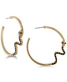 RACHEL Rachel Roy Gold-Tone Black & Pink Stone Snake Hoop Earrings