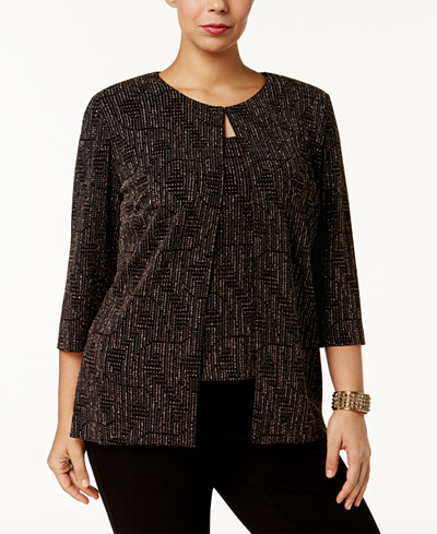 Alex Evenings Plus Size Printed Jacket & Shell