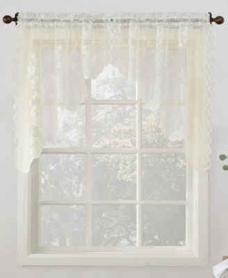 """No. 918 Alison Floral Lace 58"""" x 38"""" Rod-Pocket Kitchen Curtain Swag Pair"""