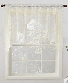 "Alison Floral Lace 58"" x 38"" Rod-Pocket Kitchen Curtain Swag Pair"