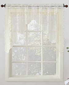"Lichtenberg No. 918 Alison Floral Lace 58"" x 38"" Rod-Pocket Kitchen Curtain Swag Pair"