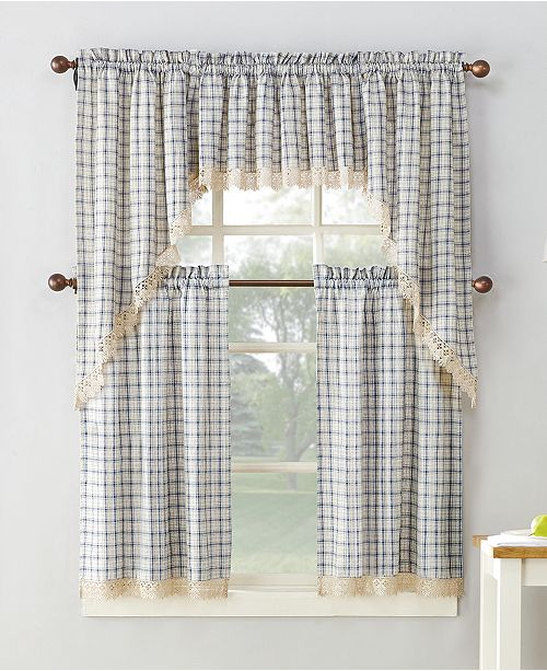 lichtenberg no 918 maisie plaid 54 x 36 rod pocket kitchen curtain tier pair macys - Kitchen Curtain