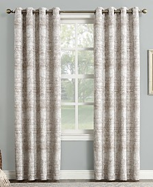 Sun Zero Darren Distressed Textured Global Jacquard Blackout Lined Grommet Curtain Panels