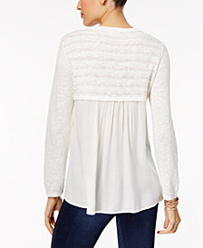 Style & Co High-Low Contrast Sweater, Created for Macy's