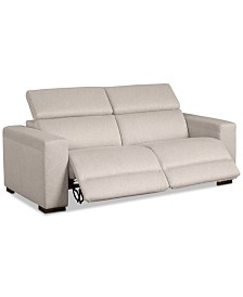 """Nevio 82"""" 2-Pc. Fabric Sofa with 2 Power Recliners and Articulating Headrests, Created for Macy's"""