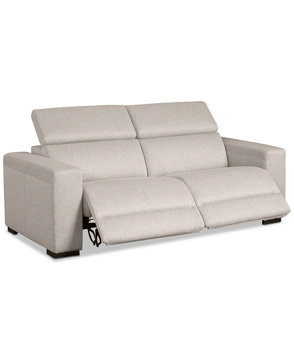 """Furniture Nevio 82"""" 2-Pc. Fabric Sofa with 2 Power Recliners and Articulating Headrests, Created for Macy's"""