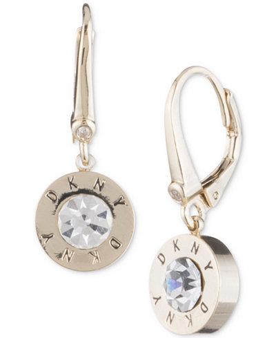Dkny Crystal Logo Drop Earrings Created For Macy S