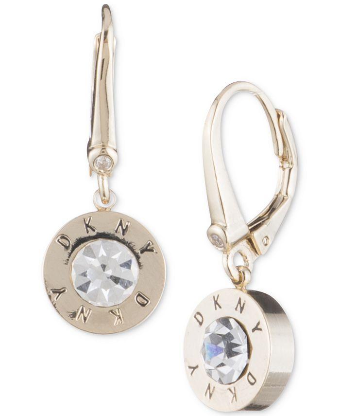 DKNY - Crystal Logo Drop Earrings