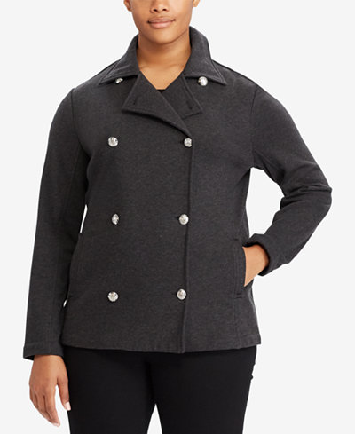 Lauren Ralph Lauren Plus Size French Terry Pea Coat - Jackets ...
