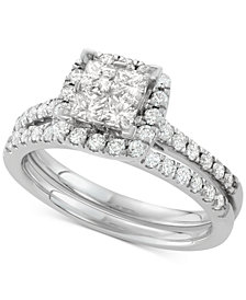 Diamond Square Halo Bridal Set (1-1/4 ct. t.w.) in 14k White Gold